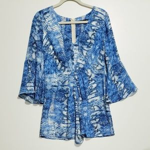 Ark & Co Blue Snake Print Bell Sleeve Romper Cinch